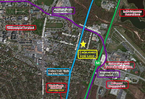 The new development is situated in close proximity to the university, the College Park-UMD Metro and MARC station, as well as two proposed purple line stations.